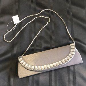 ✨NEW✨Mini Bag Silver Satin &💎Bling💎 NWT w/chain